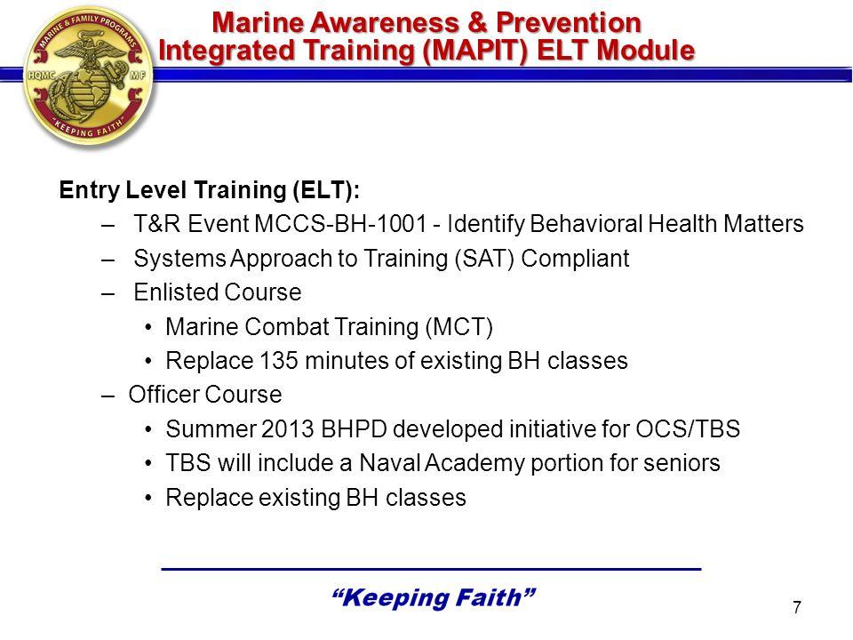 Marine Awareness & Prevention Integrated Training (MAPIT) ELT Module Entry Level Training (ELT): –T&R Event MCCS-BH-1001 - Identify Behavioral Health
