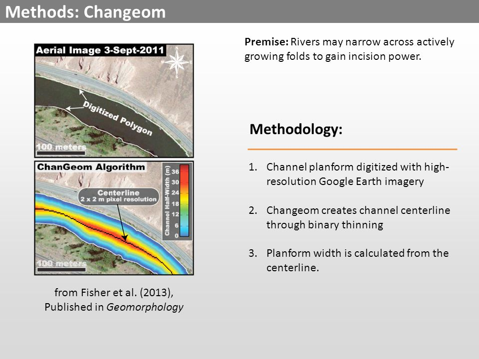 Methods: Changeom Methodology: 1.Channel planform digitized with high- resolution Google Earth imagery 2.Changeom creates channel centerline through binary thinning 3.Planform width is calculated from the centerline.