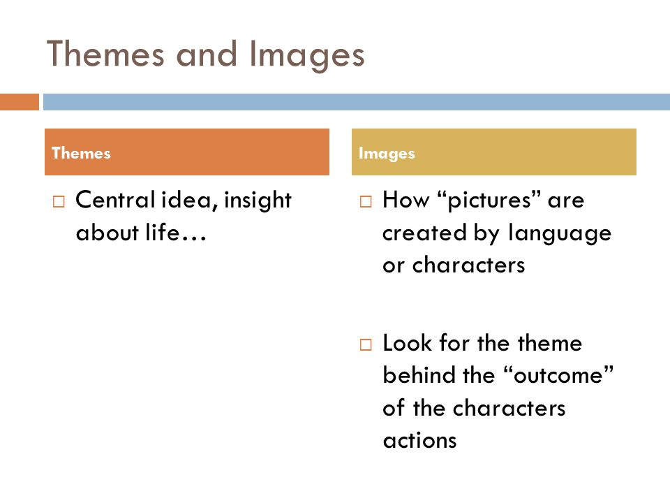 Themes and Images  Central idea, insight about life…  How pictures are created by language or characters  Look for the theme behind the outcome of the characters actions ThemesImages