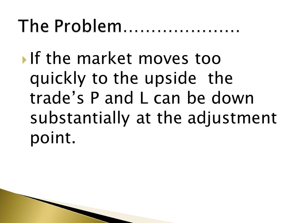  If the market moves too quickly to the upside the trade's P and L can be down substantially at the adjustment point.