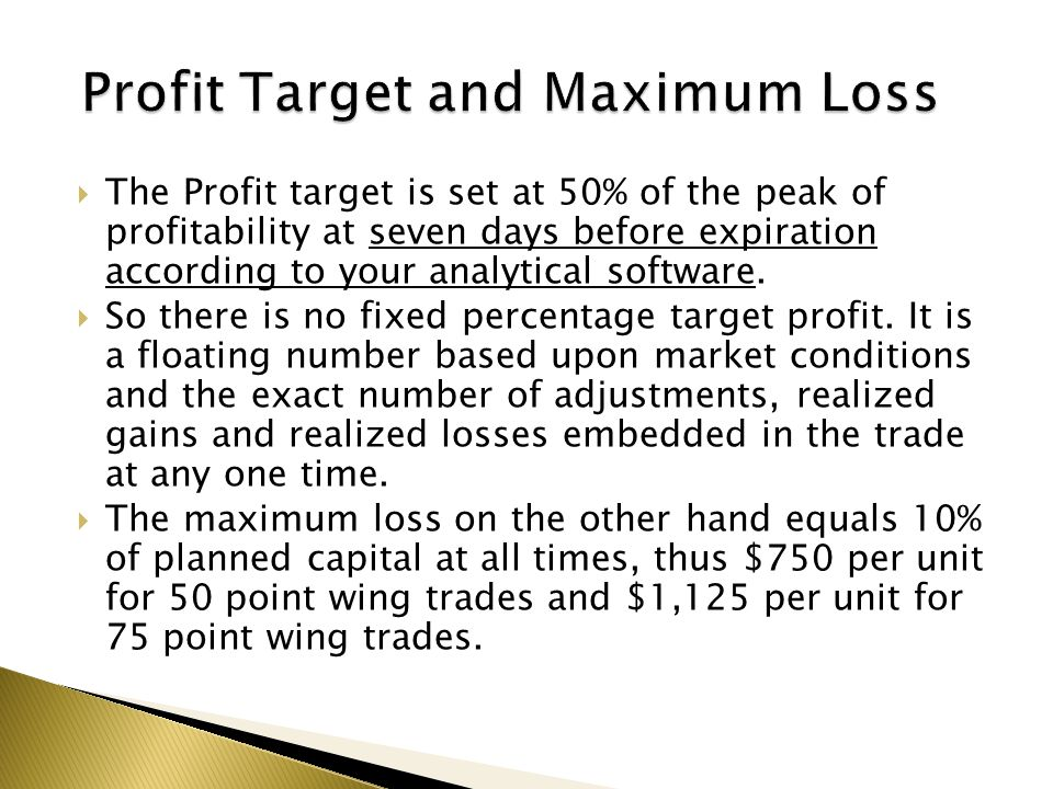  The Profit target is set at 50% of the peak of profitability at seven days before expiration according to your analytical software.  So there is no