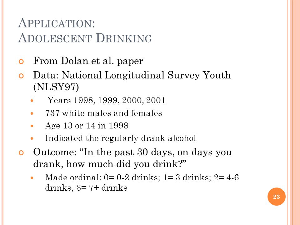 A PPLICATION : A DOLESCENT D RINKING From Dolan et al.