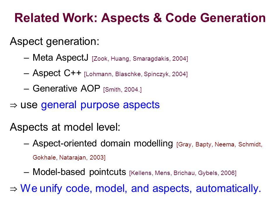 Related Work: Aspects & Code Generation Aspect generation: –Meta AspectJ [Zook, Huang, Smaragdakis, 2004] –Aspect C++ [Lohmann, Blaschke, Spinczyk, 2004] –Generative AOP [Smith, 2004.] ⇒ use general purpose aspects Aspects at model level: –Aspect-oriented domain modelling [Gray, Bapty, Neema, Schmidt, Gokhale, Natarajan, 2003] –Model-based pointcuts [Kellens, Mens, Brichau, Gybels, 2006] ⇒ We unify code, model, and aspects, automatically.