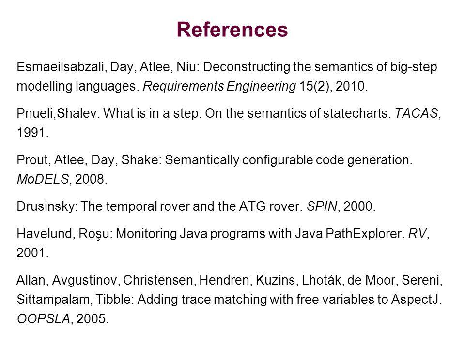 References Esmaeilsabzali, Day, Atlee, Niu: Deconstructing the semantics of big-step modelling languages.