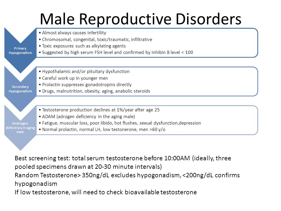 Male Reproductive Disorders Primary Hypogonadism Almost always causes infertility Chromosomal, congenital, toxic/traumatic, infiltrative Toxic exposur