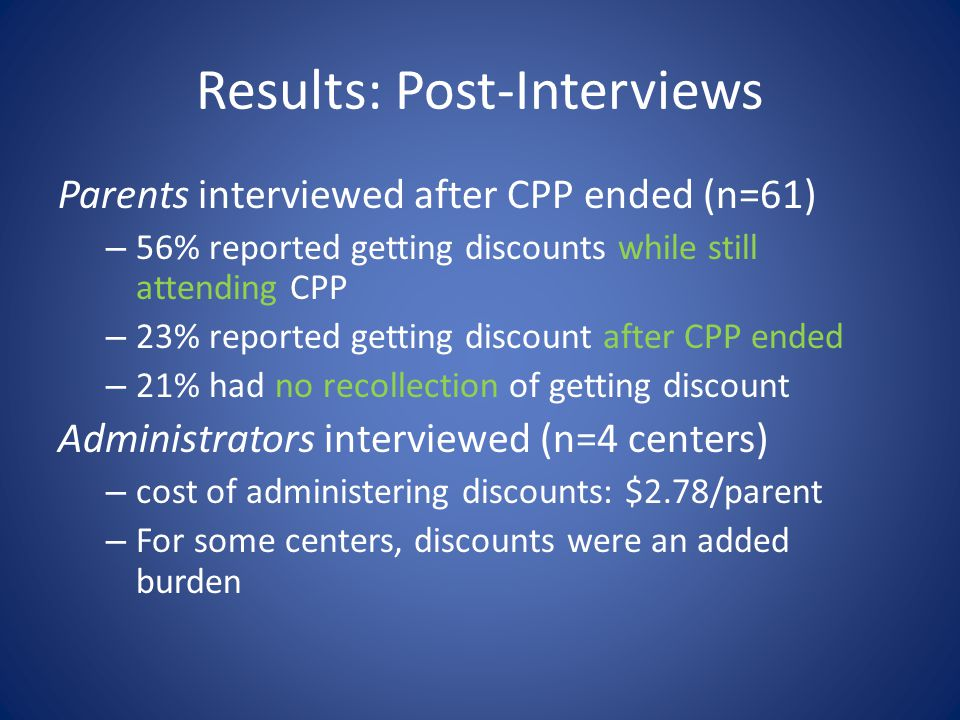 Results: Post-Interviews Parents interviewed after CPP ended (n=61) – 56% reported getting discounts while still attending CPP – 23% reported getting