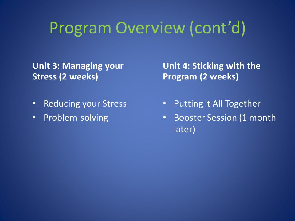 Program Overview (cont'd) Unit 3: Managing your Stress (2 weeks) Reducing your Stress Problem-solving Unit 4: Sticking with the Program (2 weeks) Putt