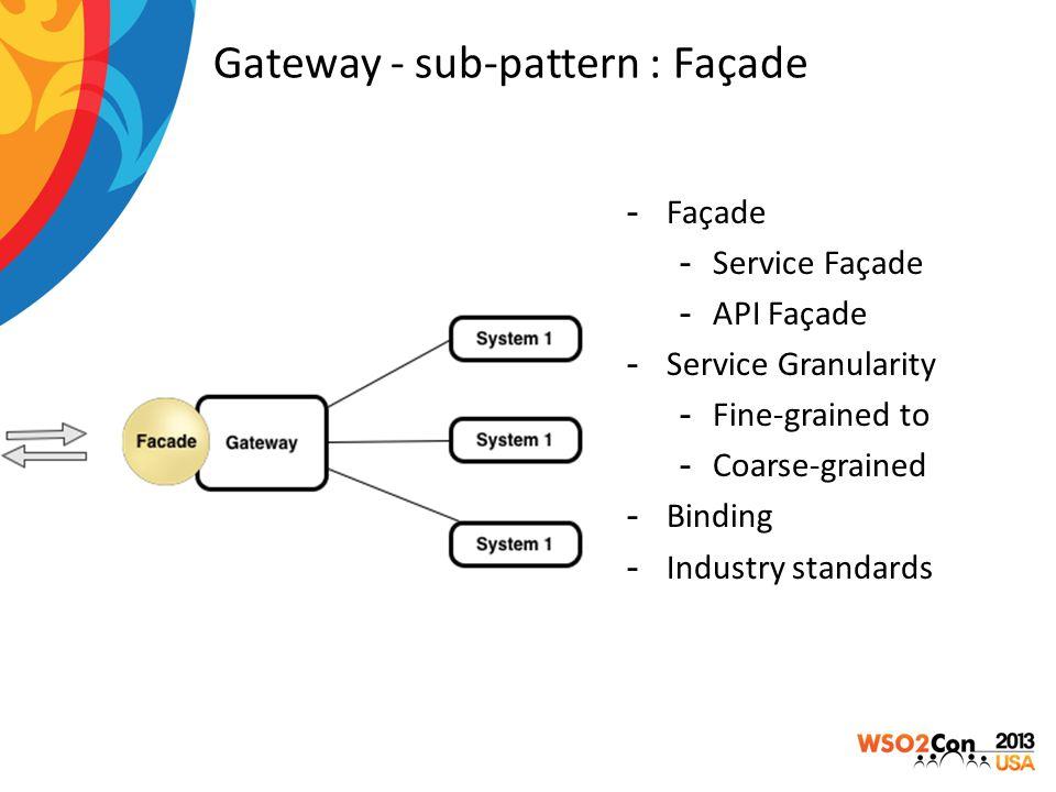 Gateway - sub-pattern : Façade -Façade -Service Façade -API Façade -Service Granularity -Fine-grained to -Coarse-grained -Binding -Industry standards