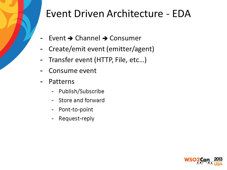 Event Driven Architecture - EDA  Event  Channel  Consumer  Create/emit event (emitter/agent)  Transfer event (HTTP, File, etc…)  Consume event 