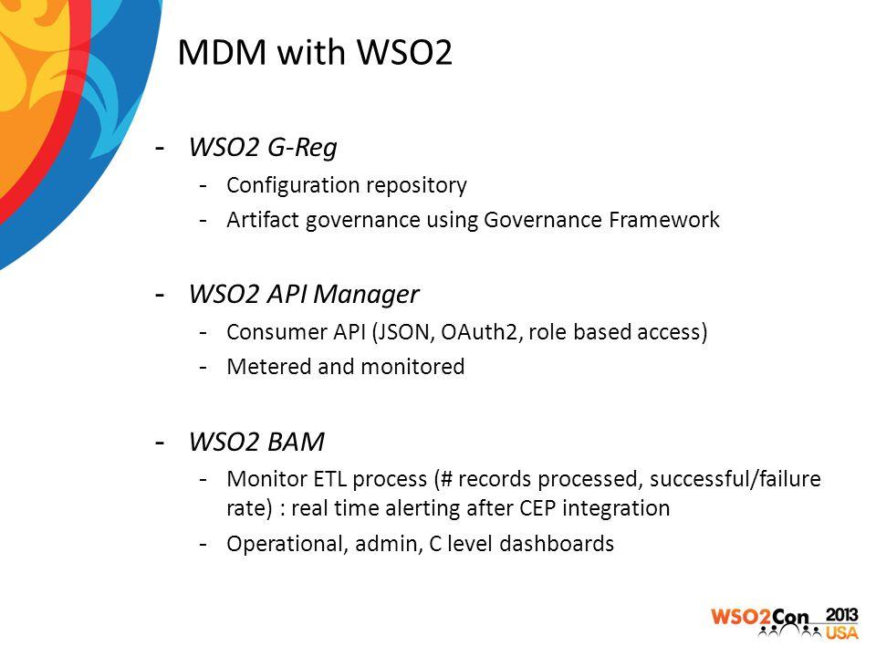MDM with WSO2 -WSO2 G-Reg -Configuration repository -Artifact governance using Governance Framework -WSO2 API Manager -Consumer API (JSON, OAuth2, rol