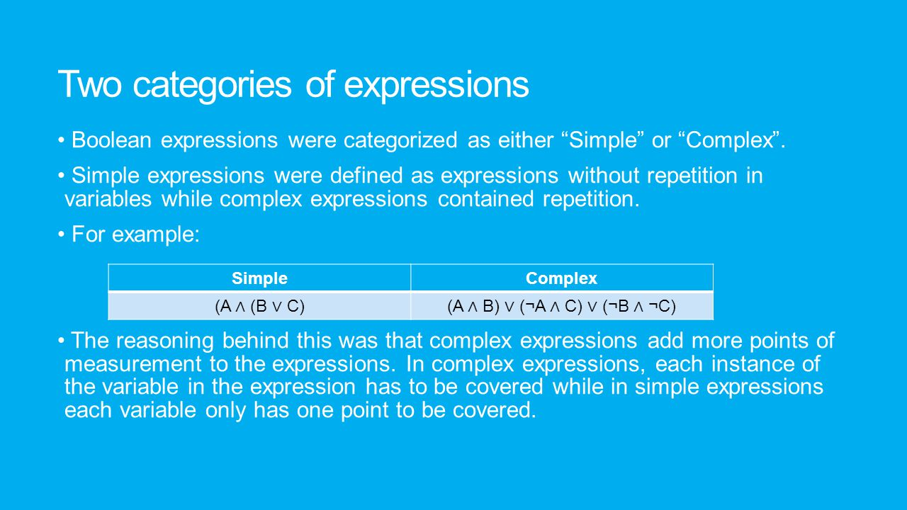 "Two categories of expressions Boolean expressions were categorized as either ""Simple"" or ""Complex"". Simple expressions were defined as expressions wit"