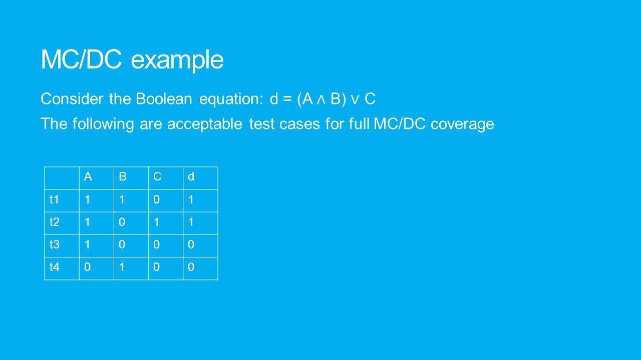 MC/DC facts MC/DC is a white-box testing technique that ensures adequate coverage of decisions in software.