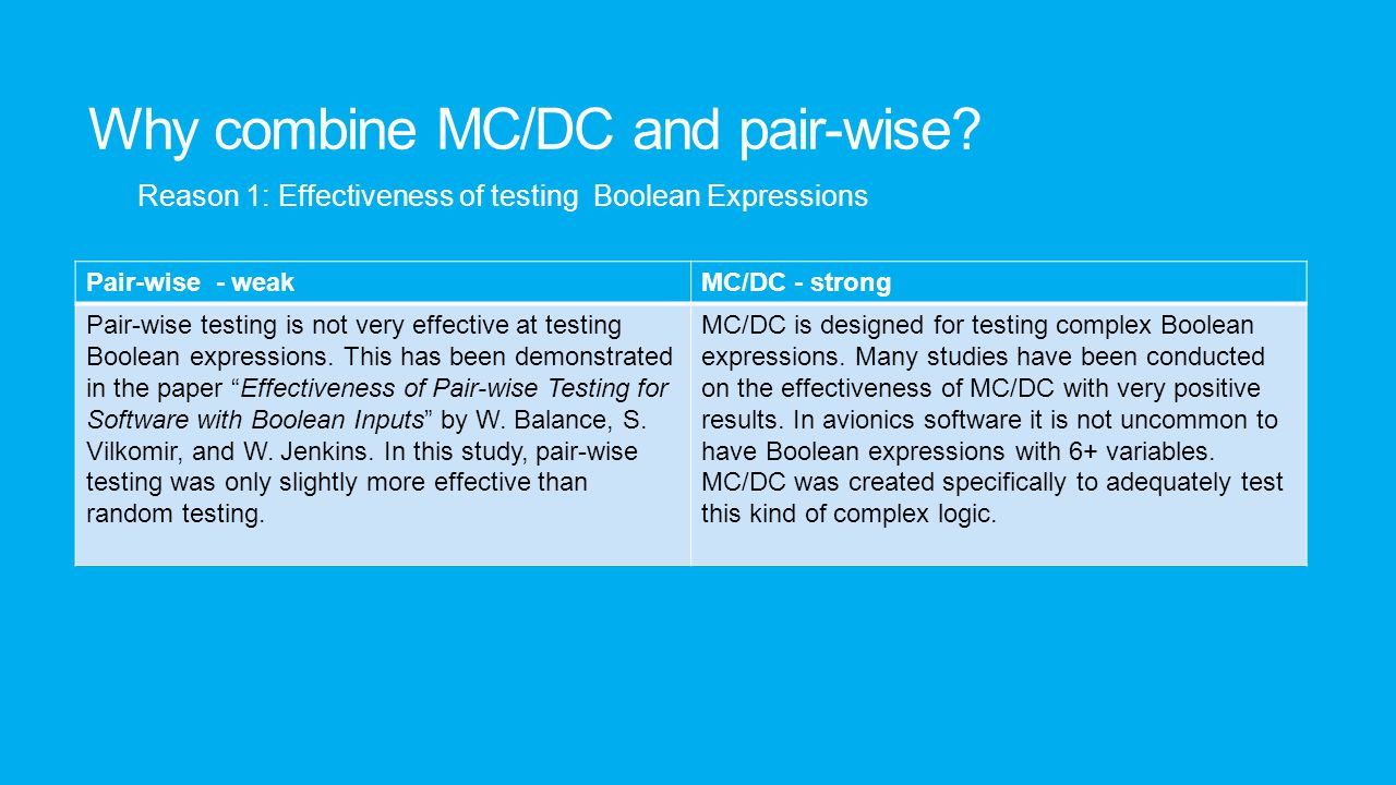 Why combine MC/DC and pair-wise? Pair-wise - weakMC/DC - strong Pair-wise testing is not very effective at testing Boolean expressions. This has been