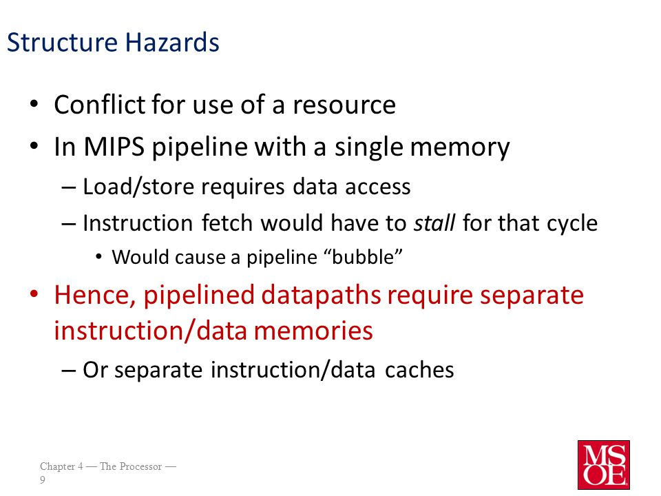Chapter 4 — The Processor — 10 Data Hazards An instruction depends on completion of data access by a previous instruction add$s0, $t0, $t1 sub$t2, $s0, $t3 $s0 is written here $s0 is read here
