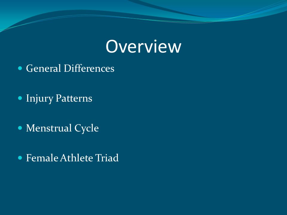 Stress Fractures Chronic, overuse injury Most common in weight bearing bones Feet, tibia, femoral neck Seen commonly in Female Athlete Triad
