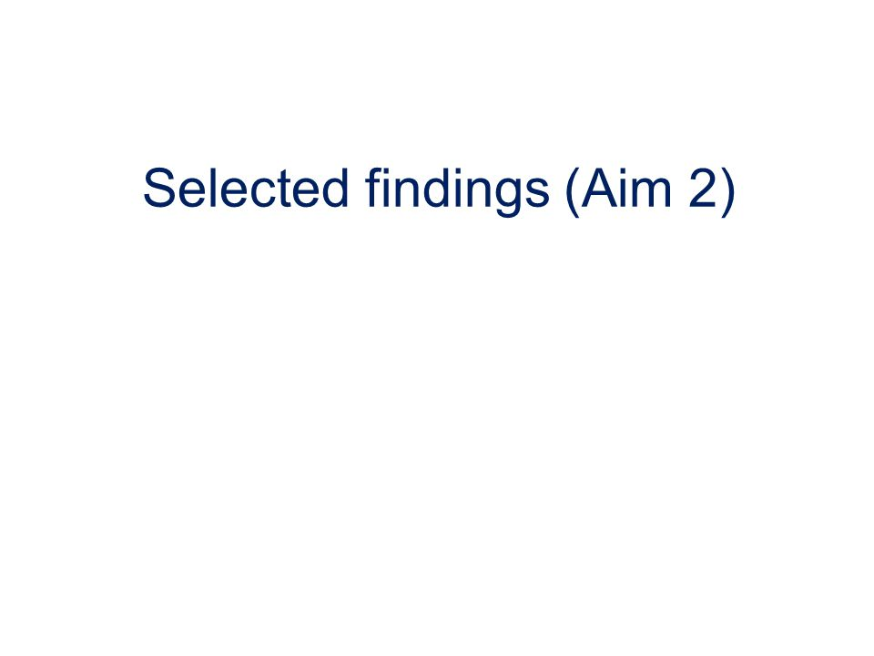 Selected findings (Aim 2)