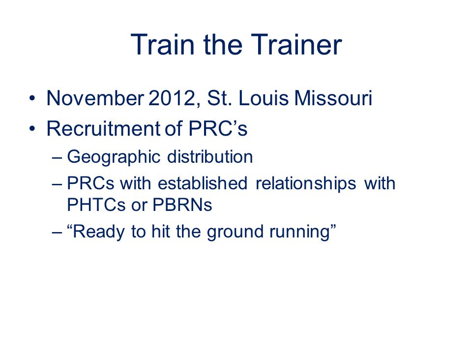 Train the Trainer November 2012, St.