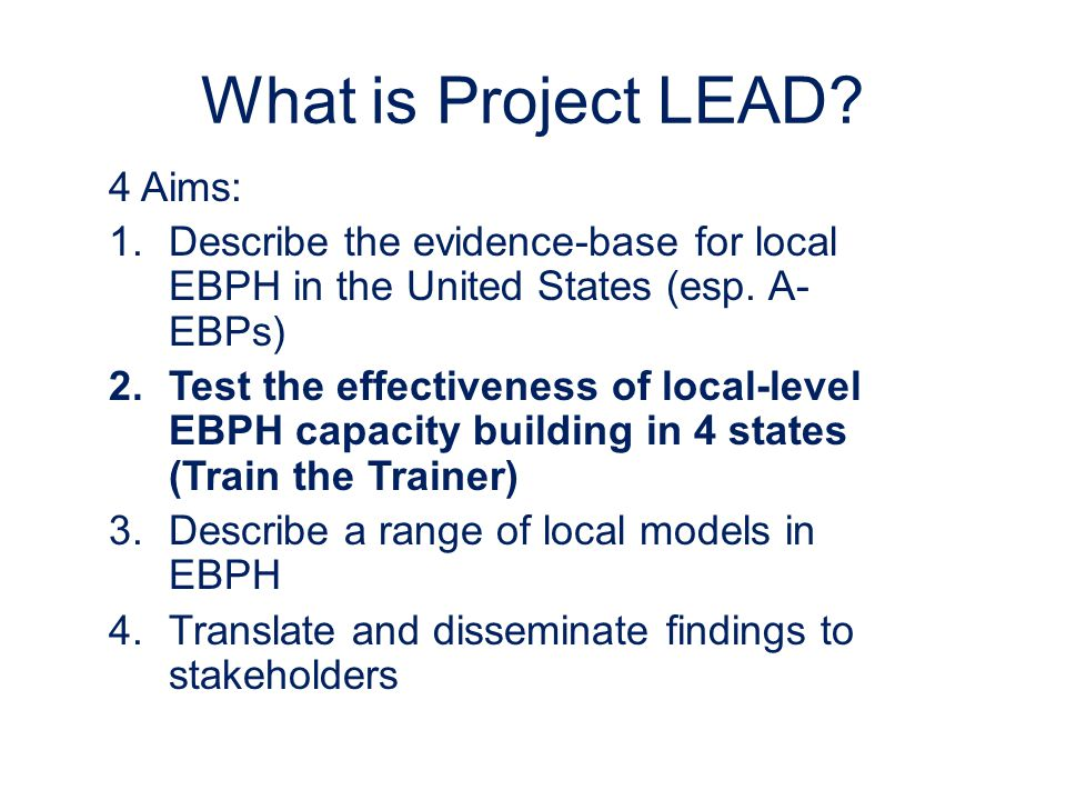 What is Project LEAD.