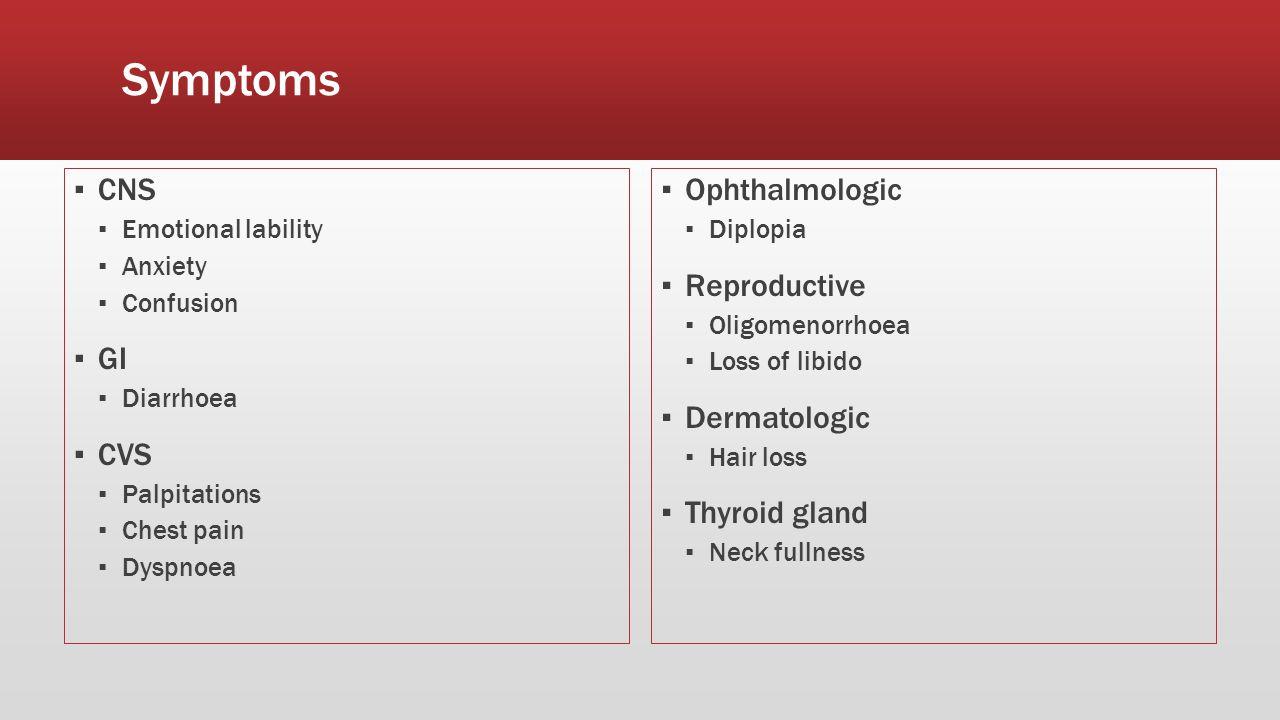 Symptoms ▪ CNS ▪ Emotional lability ▪ Anxiety ▪ Confusion ▪ GI ▪ Diarrhoea ▪ CVS ▪ Palpitations ▪ Chest pain ▪ Dyspnoea ▪ Ophthalmologic ▪ Diplopia ▪ Reproductive ▪ Oligomenorrhoea ▪ Loss of libido ▪ Dermatologic ▪ Hair loss ▪ Thyroid gland ▪ Neck fullness