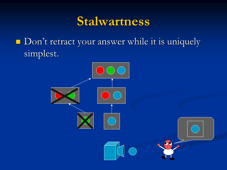 Stalwartness Don't retract your answer while it is uniquely simplest.
