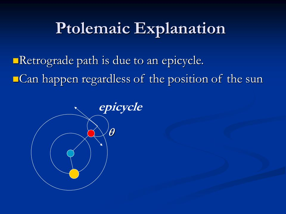 Ptolemaic Explanation  Retrograde path is due to an epicycle.