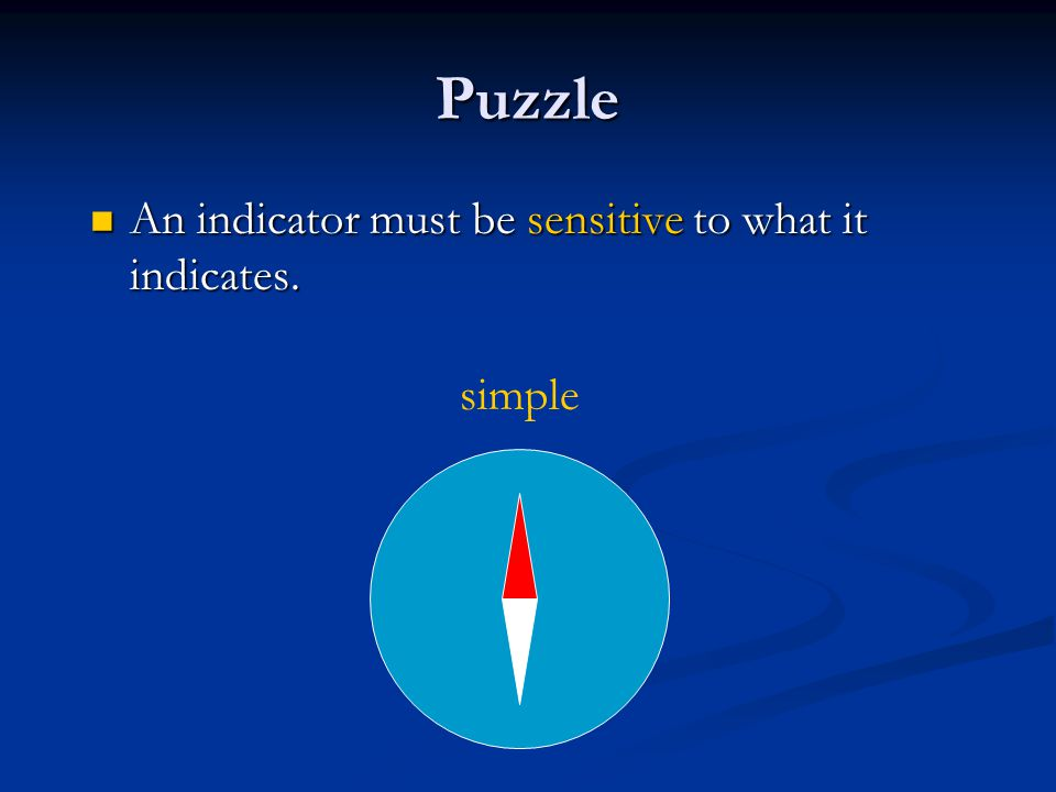 Puzzle An indicator must be sensitive to what it indicates.