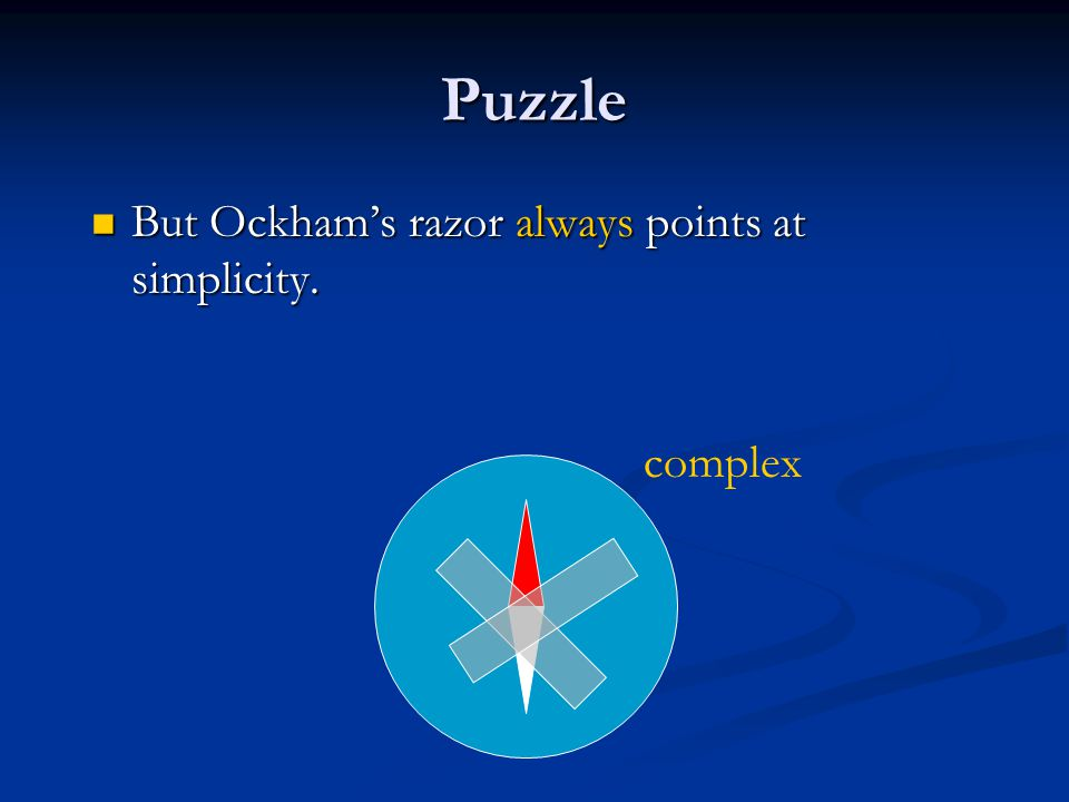 Puzzle But Ockham's razor always points at simplicity.