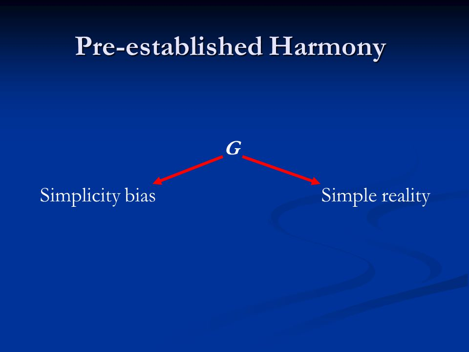 Pre-established Harmony Simplicity biasSimple reality G