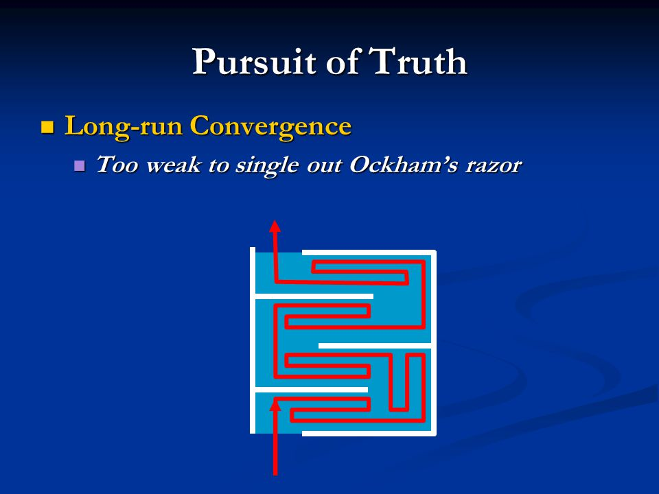 Pursuit of Truth Long-run Convergence Long-run Convergence Too weak to single out Ockham's razor Too weak to single out Ockham's razor