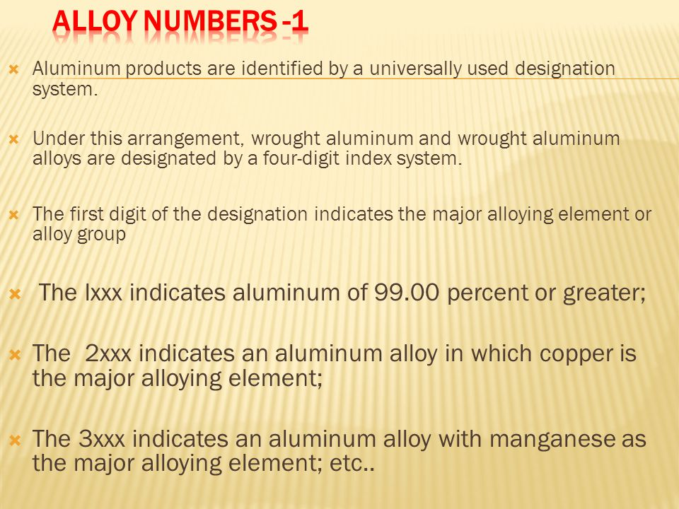  Aluminum products are identified by a universally used designation system.  Under this arrangement, wrought aluminum and wrought aluminum alloys ar
