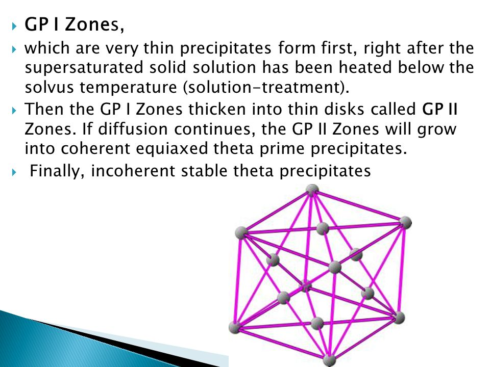  GP I Zones,  which are very thin precipitates form first, right after the supersaturated solid solution has been heated below the solvus temperatur