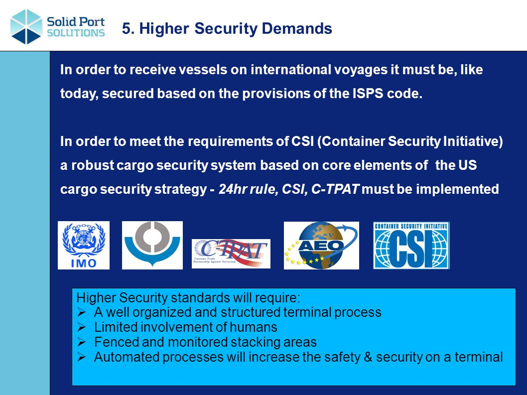 In order to receive vessels on international voyages it must be, like today, secured based on the provisions of the ISPS code.