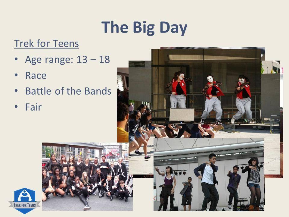 The Big Day Trek for Teens Age range: 13 – 18 Race Battle of the Bands Fair www.trekforteens.com