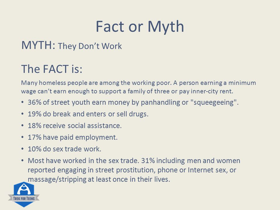 Fact or Myth Myth: They are to blame for being homeless.