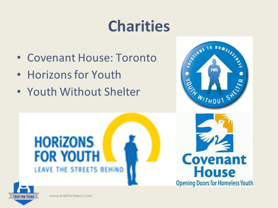 Who We Help Covenant House: Toronto Canada's largest youth shelter 24/7 Outreach Crisis Care Long term housing Wide variety of services www.trekforteens.com