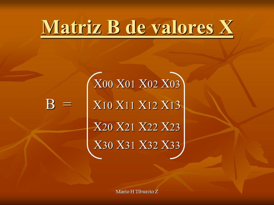 Mario H Tiburcio Z Matriz B de valores X X 00 X 01 X 02 X 03 B = X 10 X 11 X 12 X 1 3 B = X 10 X 11 X 12 X 1 3 X 20 X 21 X 22 X 23 X 20 X 21 X 22 X 23 X 30 X 31 X 32 X 33
