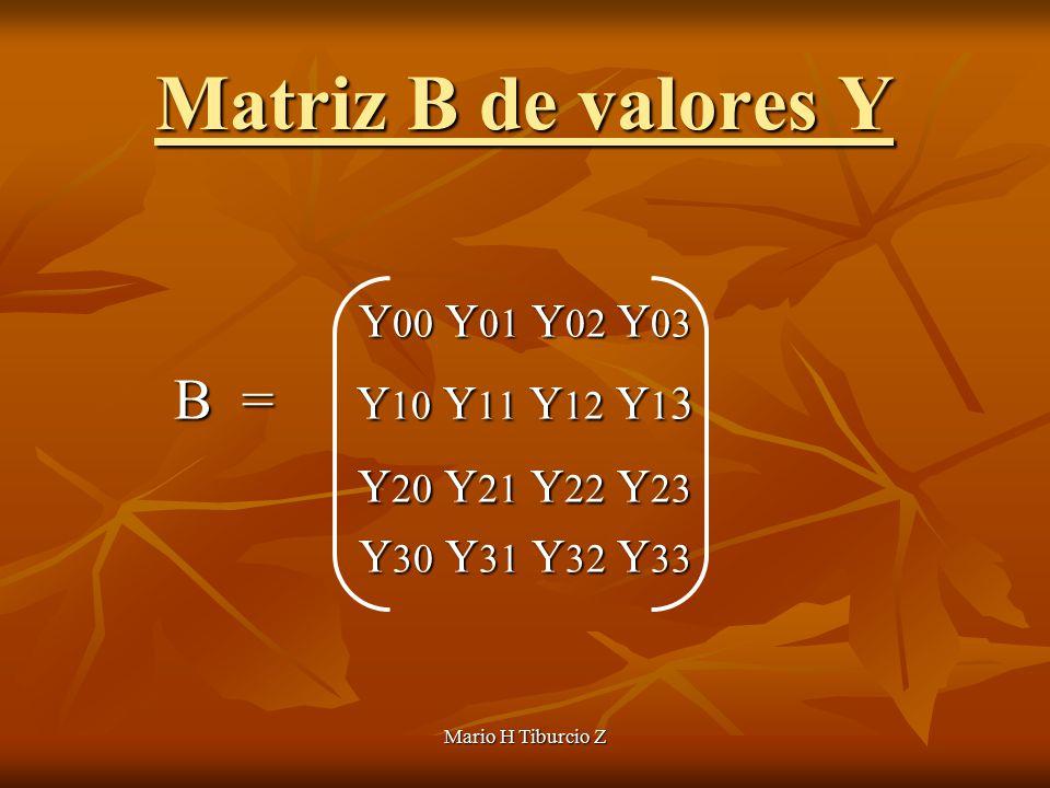 Mario H Tiburcio Z Matriz B de valores Y Y 00 Y 01 Y 02 Y 03 B = Y 10 Y 11 Y 12 Y 1 3 B = Y 10 Y 11 Y 12 Y 1 3 Y 20 Y 21 Y 22 Y 23 Y 20 Y 21 Y 22 Y 23 Y 30 Y 31 Y 32 Y 33