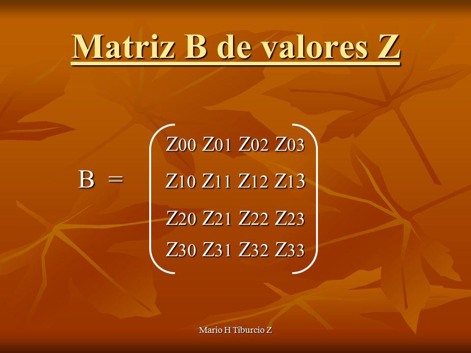 Mario H Tiburcio Z Matriz B de valores Z Z 00 Z 01 Z 02 Z 03 B = Z 10 Z 11 Z 12 Z 1 3 B = Z 10 Z 11 Z 12 Z 1 3 Z 20 Z 21 Z 22 Z 23 Z 20 Z 21 Z 22 Z 23 Z 30 Z 31 Z 32 Z 33