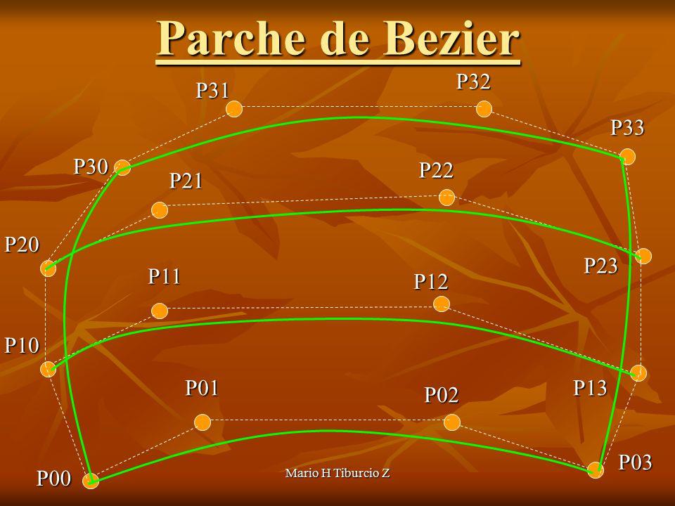 Mario H Tiburcio Z P22 P30 P12 P20 P02 P10 P32 P31 P00 P21 P11 P01 P33 P23 P13 P03 Parche de Bezier