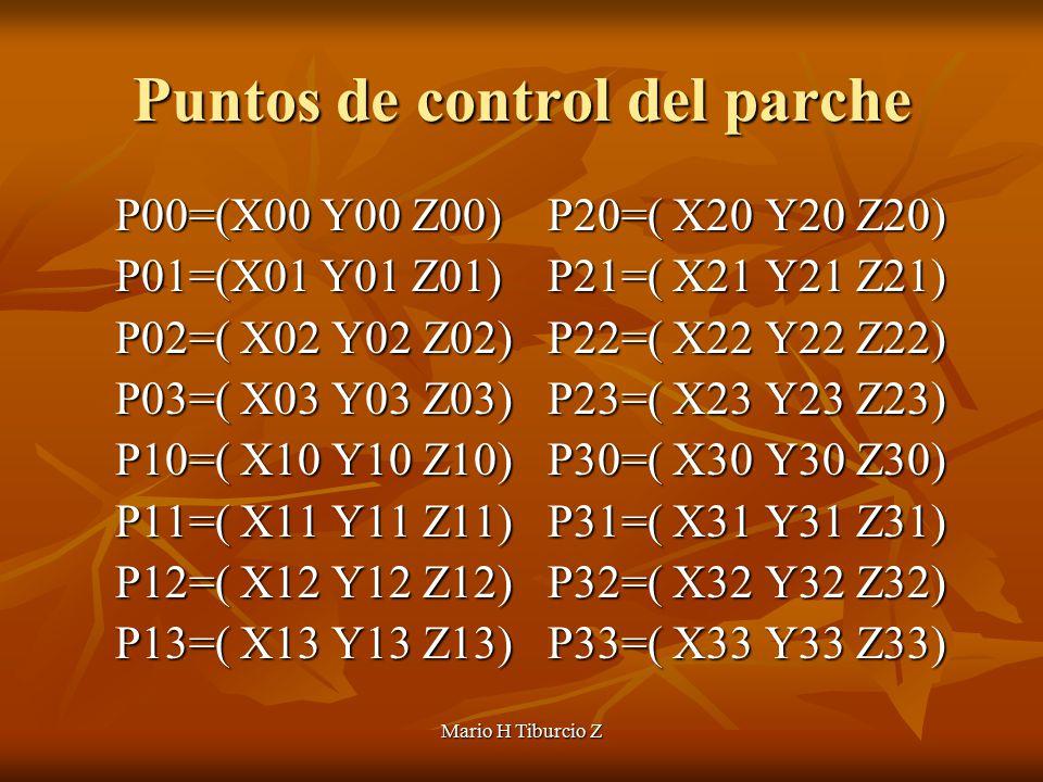 Mario H Tiburcio Z Puntos de control del parche P00=(X00 Y00 Z00) P20=( X20 Y20 Z20) P01=(X01 Y01 Z01) P21=( X21 Y21 Z21) P02=( X02 Y02 Z02) P22=( X22 Y22 Z22) P03=( X03 Y03 Z03) P23=( X23 Y23 Z23) P10=( X10 Y10 Z10) P30=( X30 Y30 Z30) P11=( X11 Y11 Z11) P31=( X31 Y31 Z31) P12=( X12 Y12 Z12) P32=( X32 Y32 Z32) P13=( X13 Y13 Z13) P33=( X33 Y33 Z33)