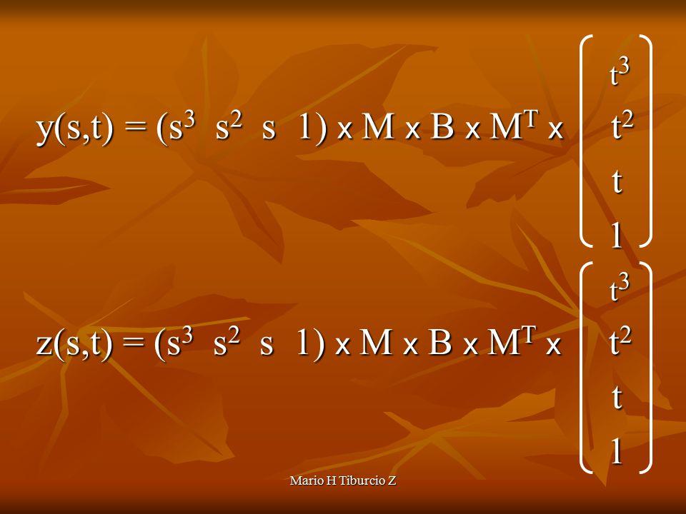 Mario H Tiburcio Z t 3 t 3 y(s,t) = (s 3 s 2 s 1) x M x B x M T x t 2 y(s,t) = (s 3 s 2 s 1) x M x B x M T x t 2 t 1 t 3 t 3 z(s,t) = (s 3 s 2 s 1) x M x B x M T x t 2 z(s,t) = (s 3 s 2 s 1) x M x B x M T x t 2 t 1