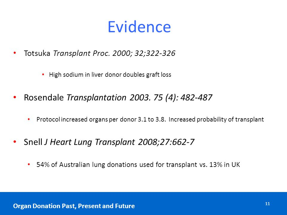 Evidence Totsuka Transplant Proc. 2000; 32;322-326 High sodium in liver donor doubles graft loss Rosendale Transplantation 2003. 75 (4): 482-487 Proto