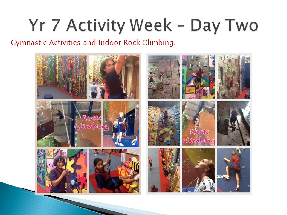 Gymnastic Activities and Indoor Rock Climbing.