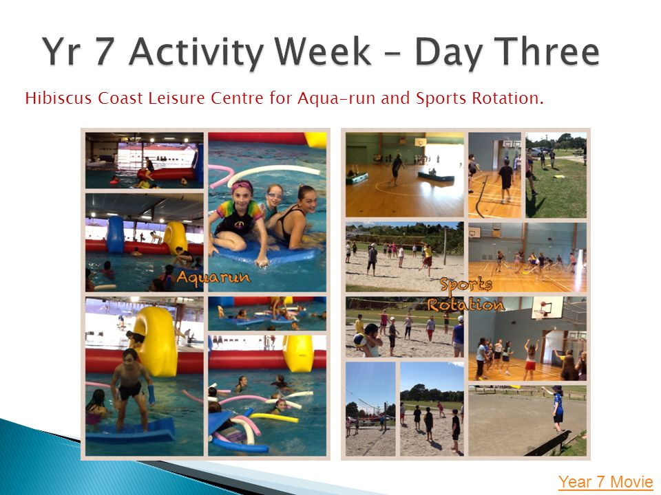 Year 7 Movie Hibiscus Coast Leisure Centre for Aqua-run and Sports Rotation.