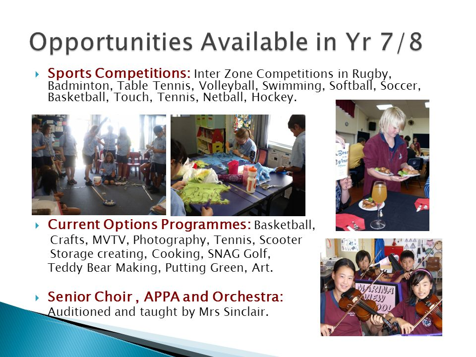  Sports Competitions: Inter Zone Competitions in Rugby, Badminton, Table Tennis, Volleyball, Swimming, Softball, Soccer, Basketball, Touch, Tennis, Netball, Hockey.