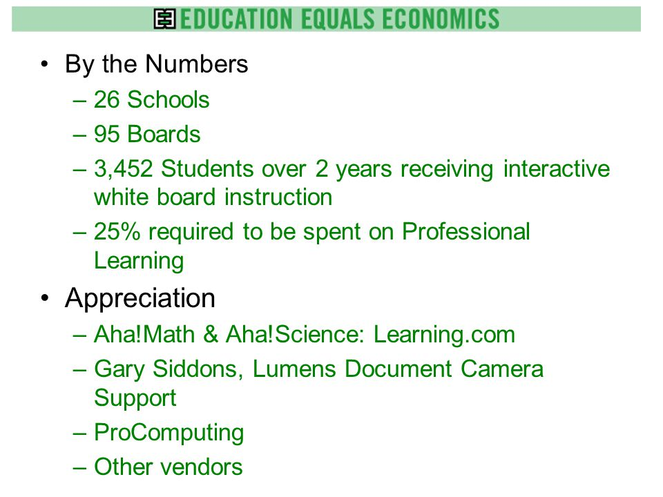 By the Numbers –26 Schools –95 Boards –3,452 Students over 2 years receiving interactive white board instruction –25% required to be spent on Professional Learning Appreciation –Aha!Math & Aha!Science: Learning.com –Gary Siddons, Lumens Document Camera Support –ProComputing –Other vendors