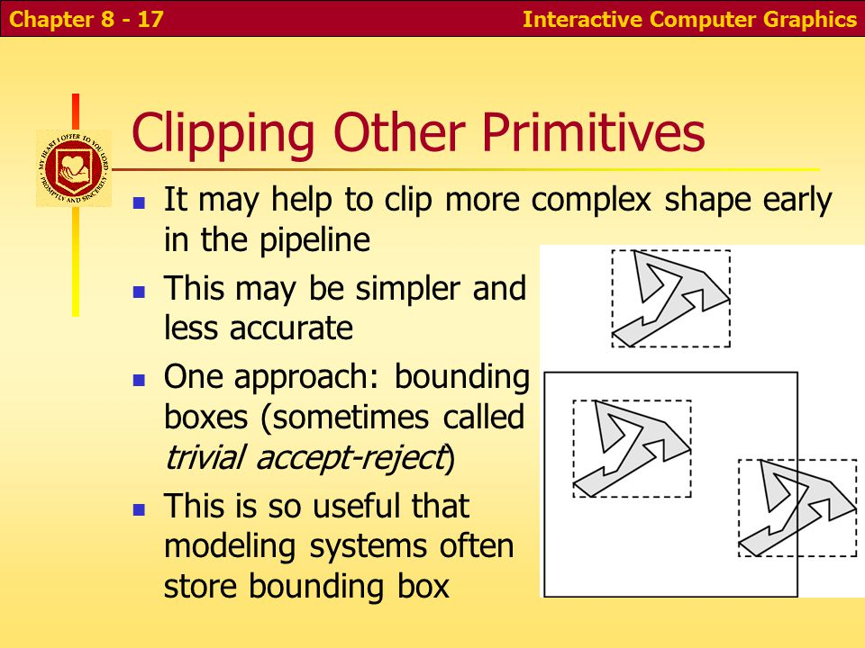 Interactive Computer GraphicsChapter 8 - 16 Clipping complicated objects Suppose you have many complicated objects, such as models of parts of a person with thousands of polygons each When and how to clip for maximum efficiency.