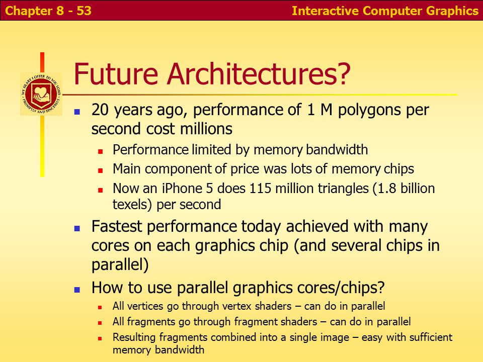 Interactive Computer GraphicsChapter 8 - 52 Hardware Implementations Pipeline architecture for speed (but what about latency ) Originally, whole pipeline on CPU Later, back-end on graphics card Then, whole pipeline in hardware on graphics card Then, parts of pipeline done on GPUs Now, hardware pipeline is gone—done in software on a large number of GPUs