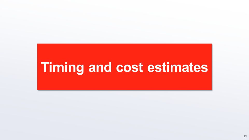 Timing and cost estimates 19