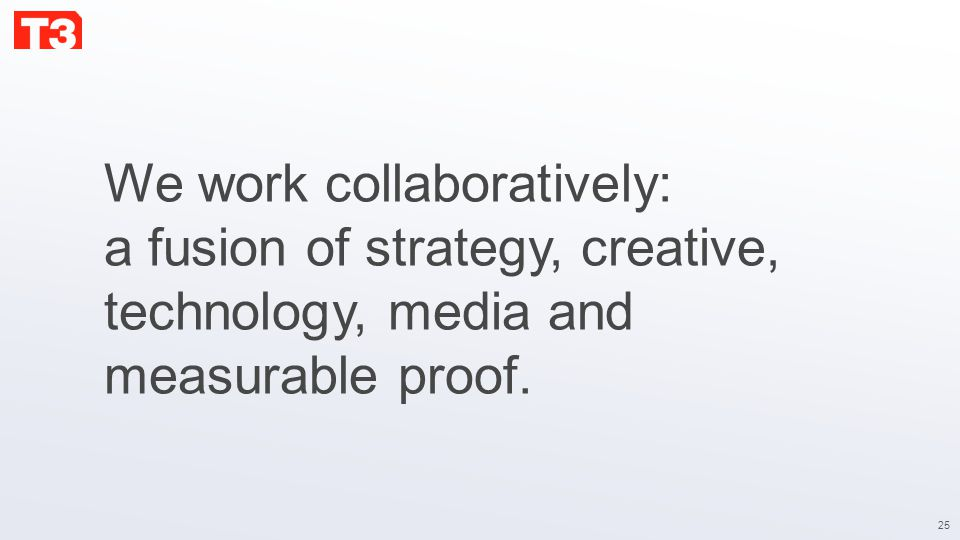 25 We work collaboratively: a fusion of strategy, creative, technology, media and measurable proof.